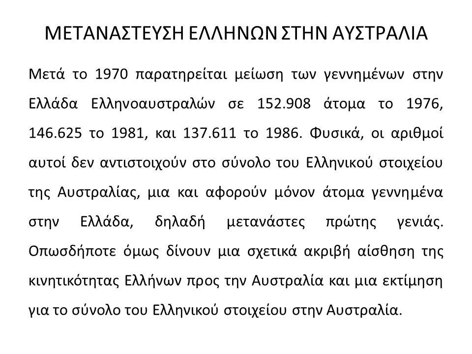 ΜΕΤΑΝΑΣΤΕΥΣΗ ΕΛΛΗΝΩΝ ΣΤΗΝ ΑΥΣΤΡΑΛΙΑ Μετά το 1970 παρατηρείται μείωση των γεννημένων στην Ελλάδα Ελληνοαυστραλών σε 152.908 άτομα το 1976, 146.625 το 1