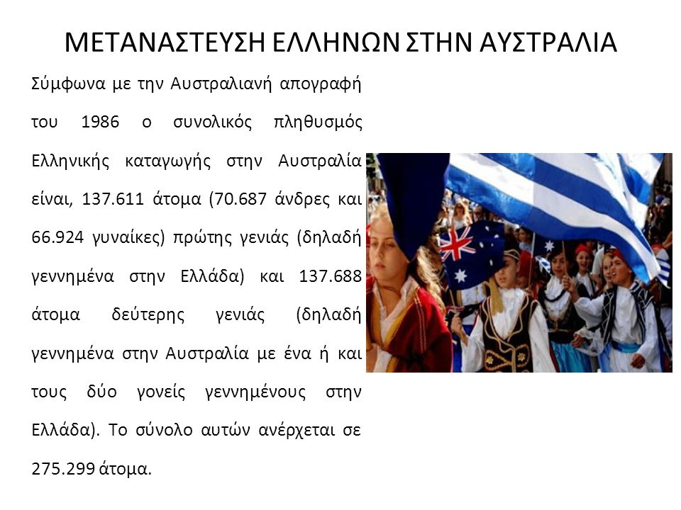 ΜΕΤΑΝΑΣΤΕΥΣΗ ΕΛΛΗΝΩΝ ΣΤΗΝ ΑΥΣΤΡΑΛΙΑ Σύμφωνα με την Αυστραλιανή απογραφή του 1986 ο συνολικός πληθυσμός Ελληνικής καταγωγής στην Αυστραλία είναι, 137.6
