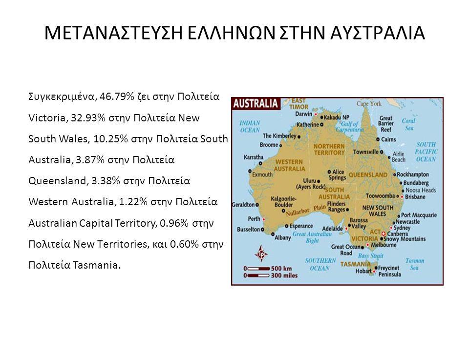ΜΕΤΑΝΑΣΤΕΥΣΗ ΕΛΛΗΝΩΝ ΣΤΗΝ ΑΥΣΤΡΑΛΙΑ Συγκεκριμένα, 46.79% ζει στην Πολιτεία Victoria, 32.93% στην Πολιτεία New South Wales, 10.25% στην Πολιτεία South
