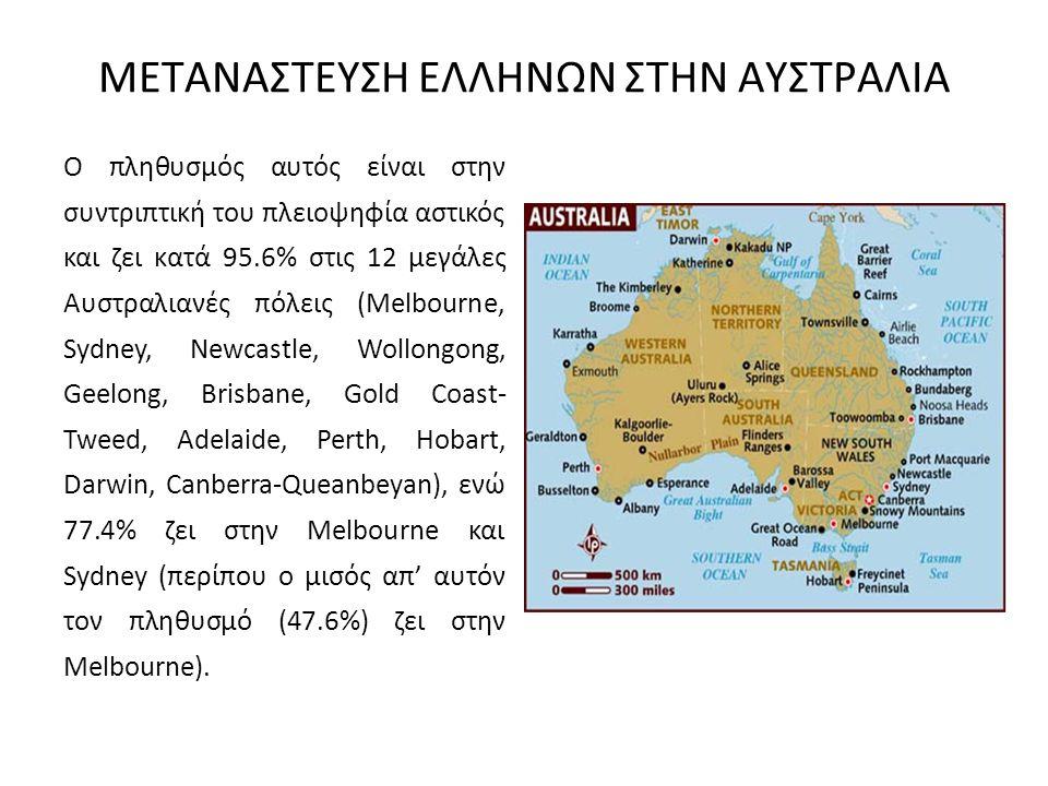 ΜΕΤΑΝΑΣΤΕΥΣΗ ΕΛΛΗΝΩΝ ΣΤΗΝ ΑΥΣΤΡΑΛΙΑ Ο πληθυσμός αυτός είναι στην συντριπτική του πλειοψηφία αστικός και ζει κατά 95.6% στις 12 μεγάλες Αυστραλιανές πό