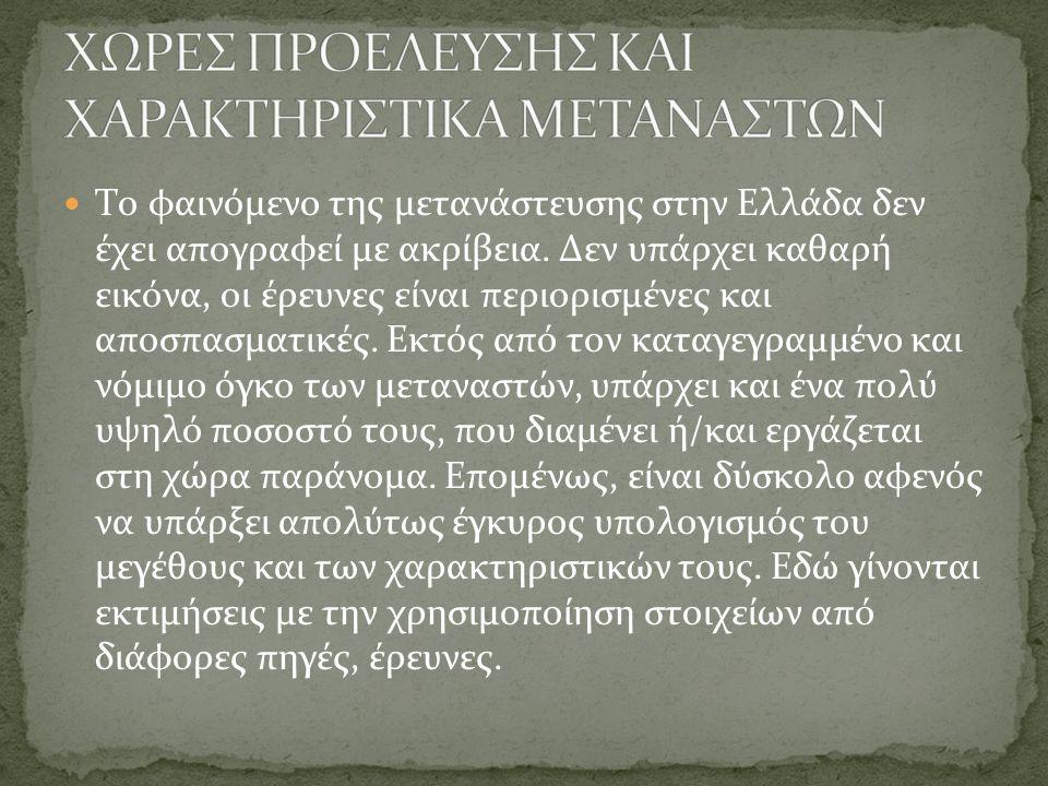 Το φαινόμενο της μετανάστευσης στην Ελλάδα δεν έχει απογραφεί με ακρίβεια. Δεν υπάρχει καθαρή εικόνα, οι έρευνες είναι περιορισμένες και αποσπασματικέ