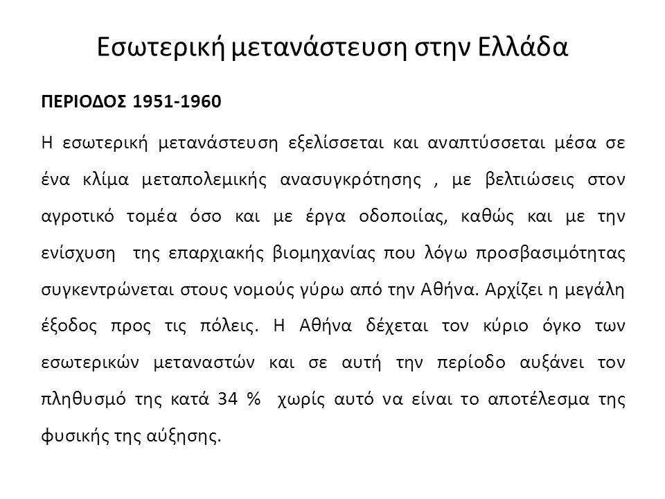 Εσωτερική μετανάστευση στην Ελλάδα ΠΕΡΙΟΔΟΣ 1951-1960 Η εσωτερική μετανάστευση εξελίσσεται και αναπτύσσεται μέσα σε ένα κλίμα μεταπολεμικής ανασυγκρότ