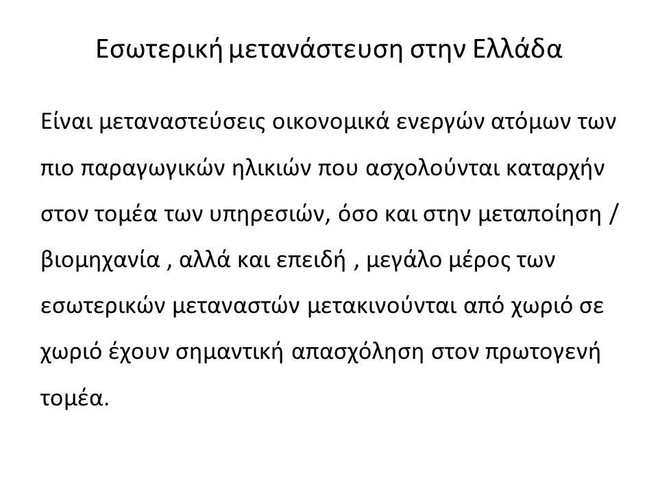Εσωτερική μετανάστευση στην Ελλάδα Είναι μεταναστεύσεις οικονομικά ενεργών ατόμων των πιο παραγωγικών ηλικιών που ασχολούνται καταρχήν στον τομέα των