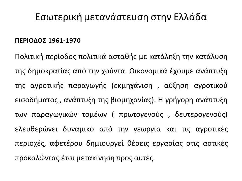 Εσωτερική μετανάστευση στην Ελλάδα ΠΕΡΙΟΔΟΣ 1961-1970 Πολιτική περίοδος πολιτικά ασταθής με κατάληξη την κατάλυση της δημοκρατίας από την χούντα. Οικο