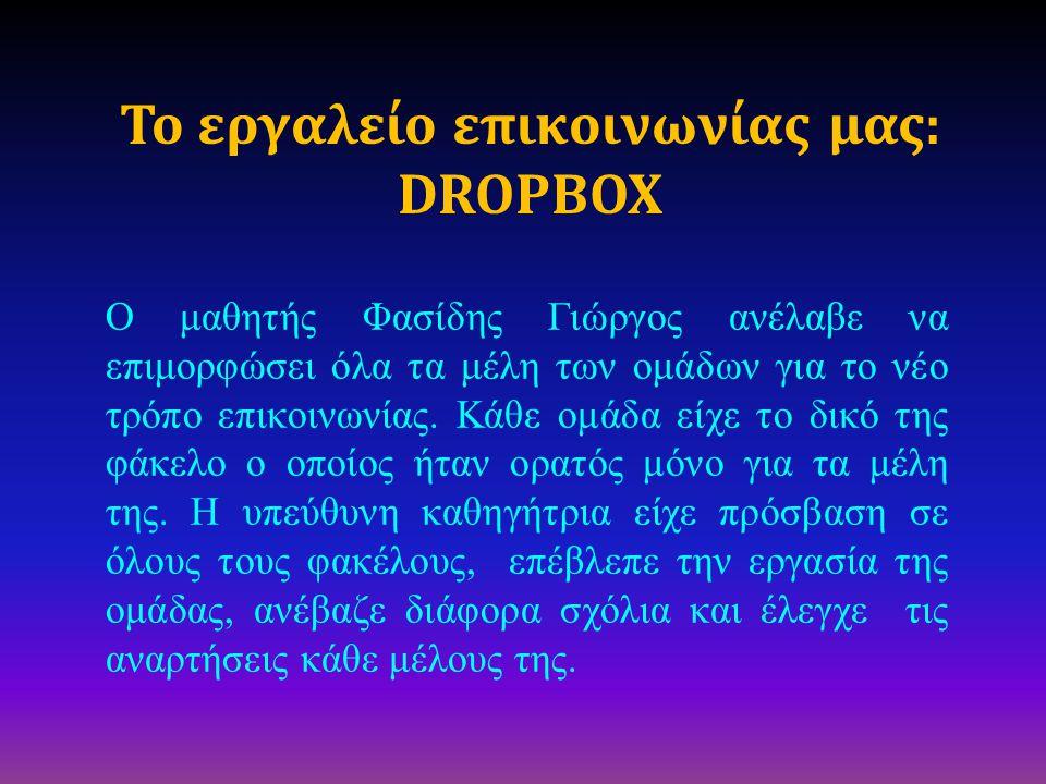 Το εργαλείο επικοινωνίας μας: DROPBOX Ο μαθητής Φασίδης Γιώργος ανέλαβε να επιμορφώσει όλα τα μέλη των ομάδων για το νέο τρόπο επικοινωνίας. Κάθε ομάδ