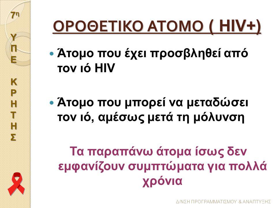 7η7η ΥΥΠΠΕΕΚΚΡΡΗΗΤΤΗΗΣΣ7η7η ΥΥΠΠΕΕΚΚΡΡΗΗΤΤΗΗΣΣ ΥΠΕΚΡΗΤΗΣ Δ/ΝΣΗ ΠΡΟΓΡΑΜΜΑΤΙΣΜΟΥ & ΑΝΑΠΤΥΞΗΣ ΟΡΟΘΕΤΙΚΟ ΑΤΟΜΟ ( HIV+) Άτομο που έχει προσβληθεί από τον ιό HIV Άτομο που μπορεί να μεταδώσει τον ιό, αμέσως μετά τη μόλυνση Τα παραπάνω άτομα ίσως δεν εμφανίζουν συμπτώματα για πολλά χρόνια