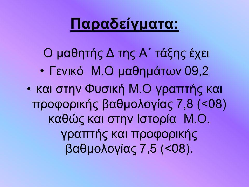 Παραδείγματα: Ο μαθητής Δ της Α΄ τάξης έχει Γενικό Μ.Ο μαθημάτων 09,2 και στην Φυσική Μ.Ο γραπτής και προφορικής βαθμολογίας 7,8 (<08) καθώς και στην