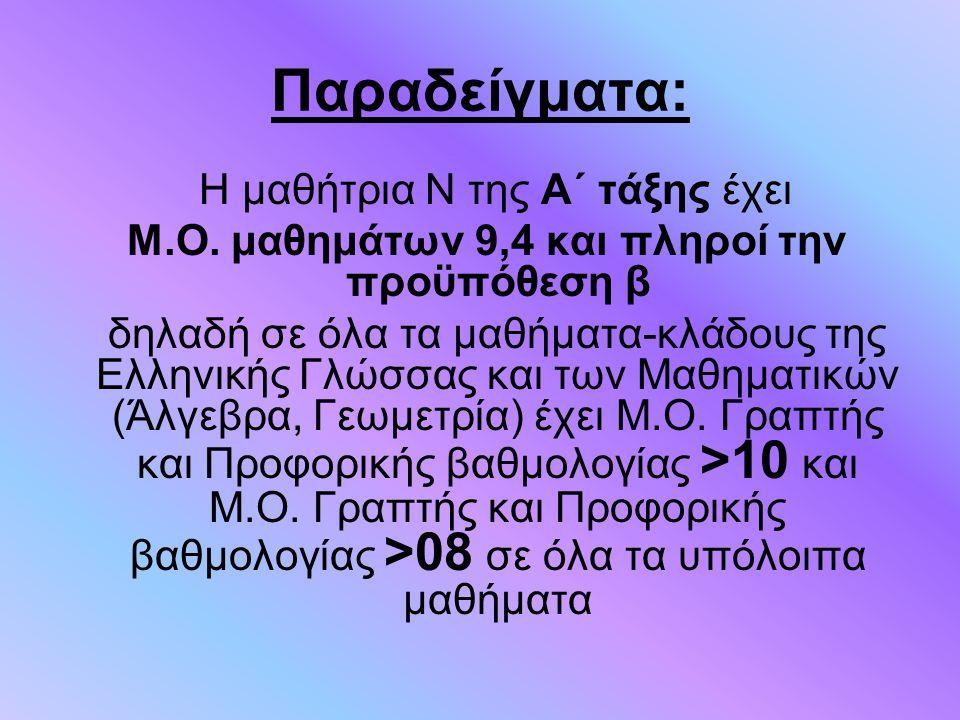 Παραδείγματα: Η μαθήτρια Ν της Α΄ τάξης έχει Μ.Ο. μαθημάτων 9,4 και πληροί την προϋπόθεση β δηλαδή σε όλα τα μαθήματα-κλάδους της Ελληνικής Γλώσσας κα