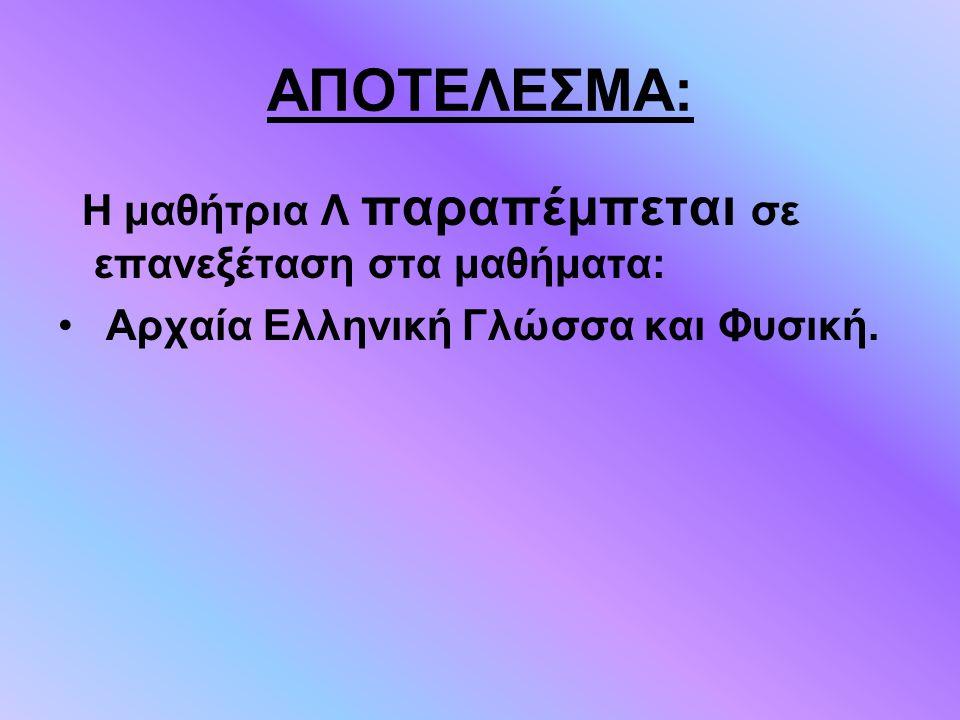 ΑΠΟΤΕΛΕΣΜΑ: Η μαθήτρια Λ παραπέμπεται σε επανεξέταση στα μαθήματα: Αρχαία Ελληνική Γλώσσα και Φυσική.