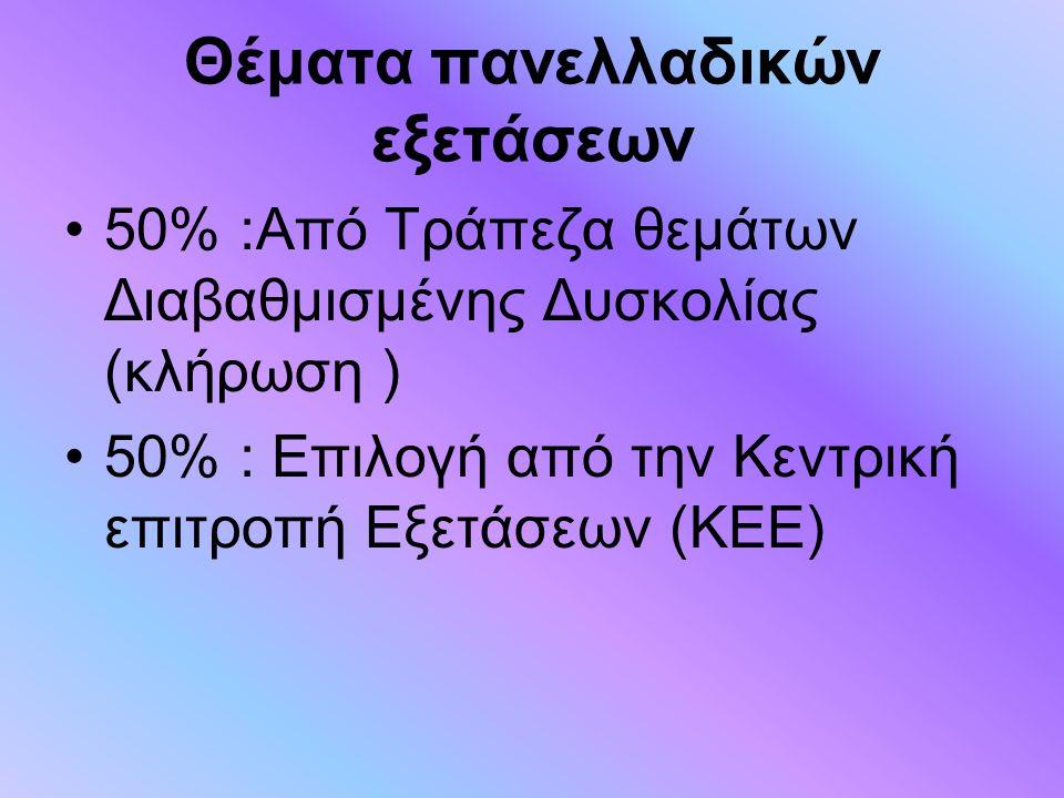 Θέματα πανελλαδικών εξετάσεων 50% :Από Τράπεζα θεμάτων Διαβαθμισμένης Δυσκολίας (κλήρωση ) 50% : Επιλογή από την Κεντρική επιτροπή Εξετάσεων (ΚΕΕ)