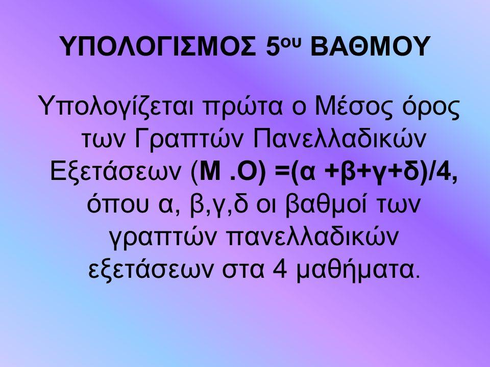 ΥΠΟΛΟΓΙΣΜΟΣ 5 ου ΒΑΘΜΟΥ Υπολογίζεται πρώτα ο Μέσος όρος των Γραπτών Πανελλαδικών Εξετάσεων (Μ.Ο) =(α +β+γ+δ)/4, όπου α, β,γ,δ οι βαθμοί των γραπτών πα