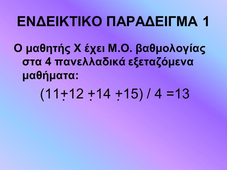 ΕΝΔΕΙΚΤΙΚΟ ΠΑΡΑΔΕΙΓΜΑ 1 Ο μαθητής Χ έχει Μ.Ο. βαθμολογίας στα 4 πανελλαδικά εξεταζόμενα μαθήματα: (11+12 +14 +15) / 4 =13