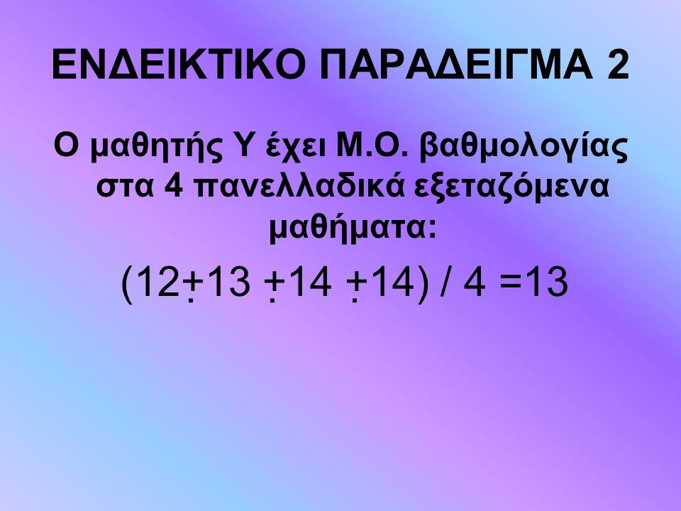 ΕΝΔΕΙΚΤΙΚΟ ΠΑΡΑΔΕΙΓΜΑ 2 Ο μαθητής Υ έχει Μ.Ο. βαθμολογίας στα 4 πανελλαδικά εξεταζόμενα μαθήματα: (12+13 +14 +14) / 4 =13