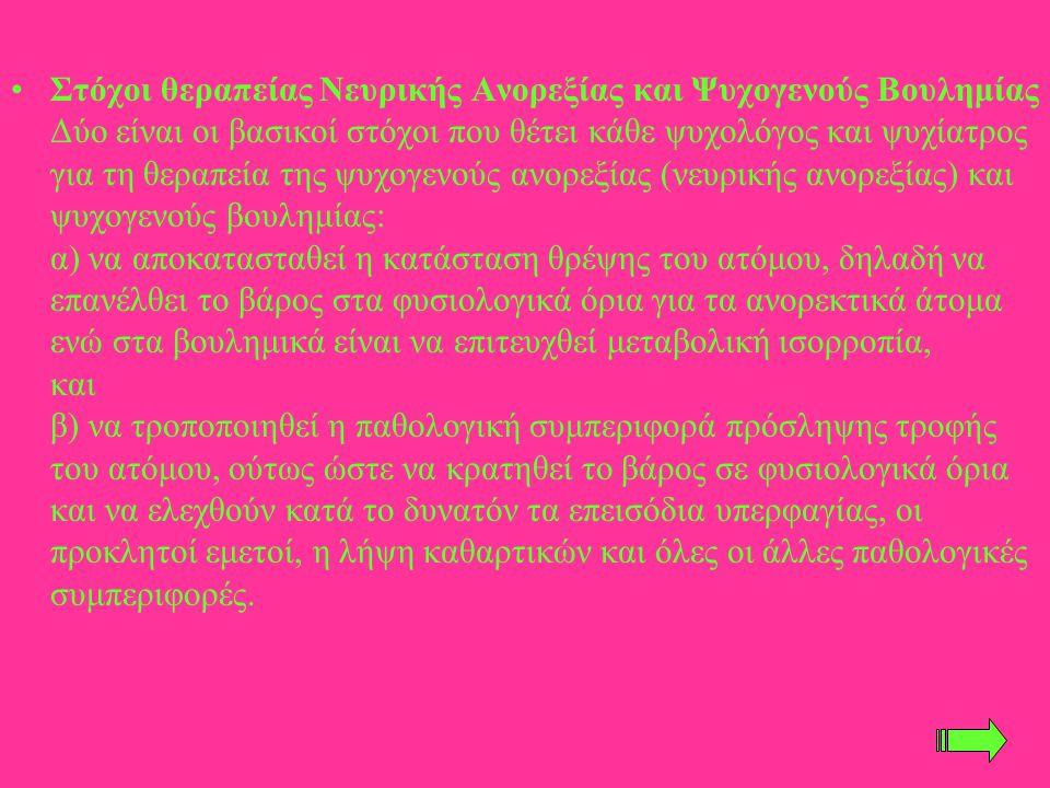 Στόχοι θεραπείας Νευρικής Ανορεξίας και Ψυχογενούς Βουλημίας Δύο είναι οι βασικοί στόχοι που θέτει κάθε ψυχολόγος και ψυχίατρος για τη θεραπεία της ψυχογενούς ανορεξίας (νευρικής ανορεξίας) και ψυχογενούς βουλημίας: α) να αποκατασταθεί η κατάσταση θρέψης του ατόμου, δηλαδή να επανέλθει το βάρος στα φυσιολογικά όρια για τα ανορεκτικά άτομα ενώ στα βουλημικά είναι να επιτευχθεί μεταβολική ισορροπία, και β) να τροποποιηθεί η παθολογική συμπεριφορά πρόσληψης τροφής του ατόμου, ούτως ώστε να κρατηθεί το βάρος σε φυσιολογικά όρια και να ελεχθούν κατά το δυνατόν τα επεισόδια υπερφαγίας, οι προκλητοί εμετοί, η λήψη καθαρτικών και όλες οι άλλες παθολογικές συμπεριφορές.