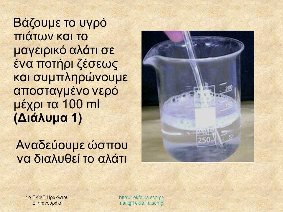 1ο ΕΚΦΕ Ηρακλείου Ε. Φανουράκη http://1ekfe.ira.sch.gr/ mail@1ekfe.ira.sch.gr Αναδεύουμε ώσπου να διαλυθεί το αλάτι Βάζουμε το υγρό πιάτων και το μαγε