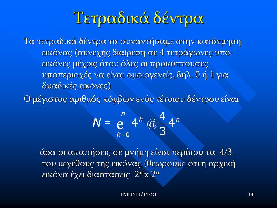 ΤΜΗΥΠ / ΕΕΣΤ14 Τετραδικά δέντρα Τα τετραδικά δέντρα τα συναντήσαμε στην κατάτμηση εικόνας (συνεχής διαίρεση σε 4 τετράγωνες υπο- εικόνες μέχρις ότου όλες οι προκύπτουσες υποπεριοχές να είναι ομοιογενείς, δηλ.