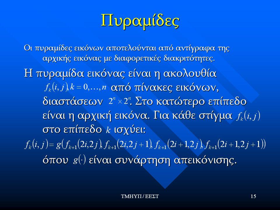 ΤΜΗΥΠ / ΕΕΣΤ15 Πυραμίδες Οι πυραμίδες εικόνων αποτελούνται από αντίγραφα της αρχικής εικόνας με διαφορετικές διακριτότητες. Η πυραμίδα εικόνας είναι η