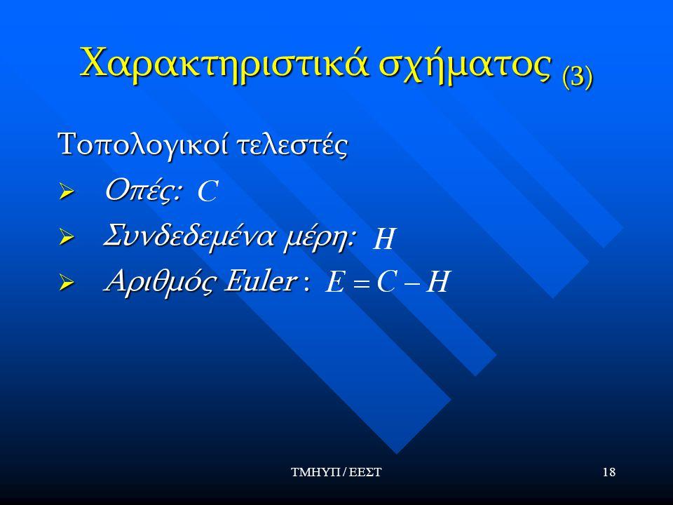 ΤΜΗΥΠ / ΕΕΣΤ18 Χαρακτηριστικά σχήματος (3) Τοπολογικοί τελεστές  Οπές:  Συνδεδεμένα μέρη:  Αριθμός Euler :
