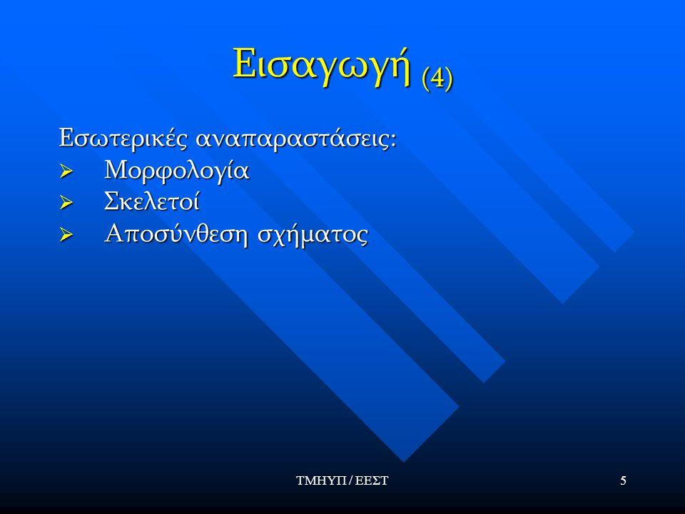 ΤΜΗΥΠ / ΕΕΣΤ26 Μορφολογία (3) Βασικοί μορφολογικοί μετασχηματισμοί  Διαστολή:  Συστολή:  Άνοιγμα:  Κλείσιμο: * όπου το συμμετρικό, ως προς το, σύνολο του δομικού στοιχείου.