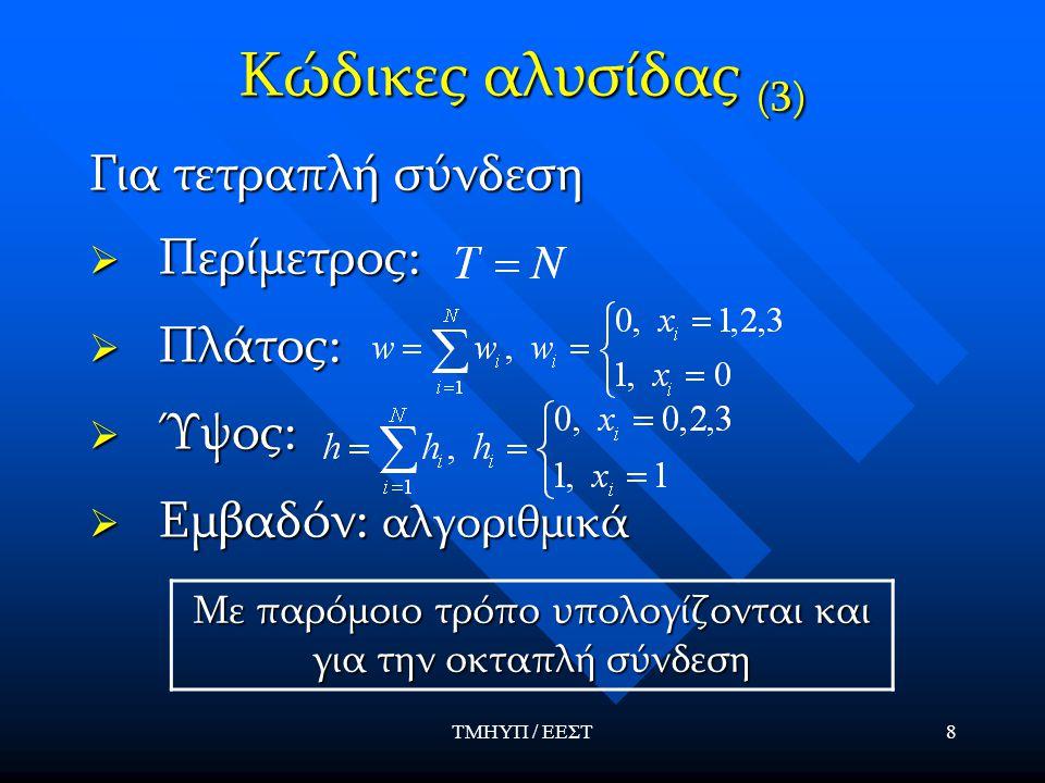 ΤΜΗΥΠ / ΕΕΣΤ8 Κώδικες αλυσίδας (3) Για τετραπλή σύνδεση  Περίμετρος:  Πλάτος:  Ύψος:  Εμβαδόν: αλγοριθμικά Με παρόμοιο τρόπο υπολογίζονται και για
