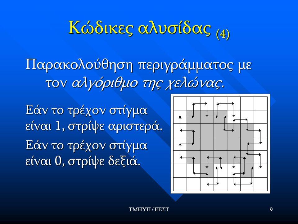 ΤΜΗΥΠ / ΕΕΣΤ9 Κώδικες αλυσίδας (4) Παρακολούθηση περιγράμματος με τον αλγόριθμο της χελώνας. Εάν το τρέχον στίγμα είναι 1, στρίψε αριστερά. Εάν το τρέ