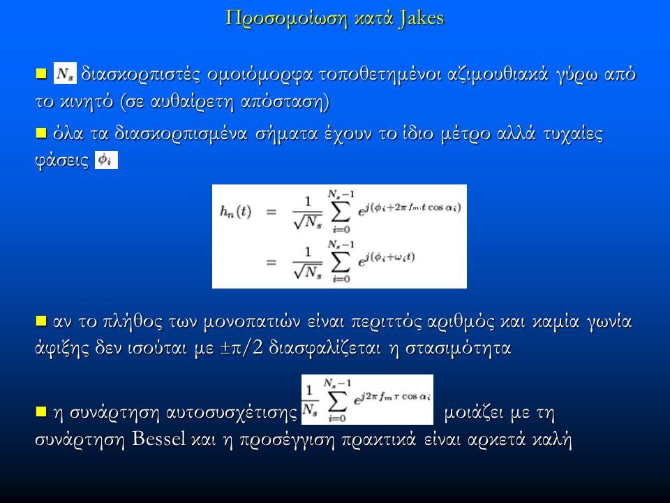 Προσομοίωση κατά Jakes διασκορπιστές ομοιόμορφα τοποθετημένοι αζιμουθιακά γύρω από το κινητό (σε αυθαίρετη απόσταση) διασκορπιστές ομοιόμορφα τοποθετη