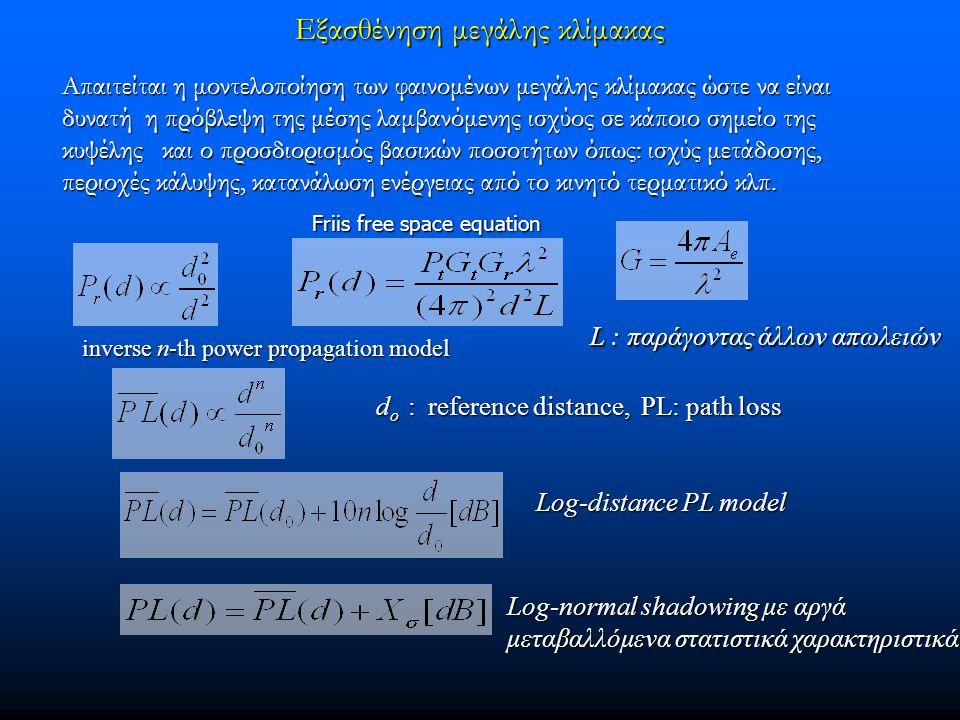 Εξασθένηση μεγάλης κλίμακας Απαιτείται η μοντελοποίηση των φαινομένων μεγάλης κλίμακας ώστε να είναι δυνατή η πρόβλεψη της μέσης λαμβανόμενης ισχύος σ