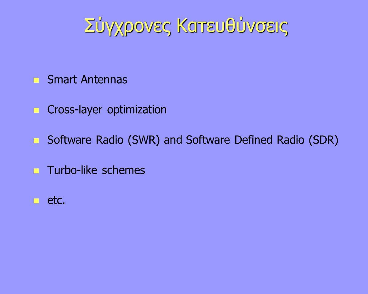 Σύγχρονες Κατευθύνσεις Smart Antennas Cross-layer optimization Software Radio (SWR) and Software Defined Radio (SDR) Turbo-like schemes etc.
