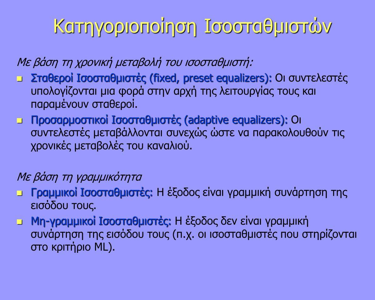Κατηγοριοποίηση Ισοσταθμιστών Με βάση τη χρονική μεταβολή του ισοσταθμιστή: Σταθεροί Ισοσταθμιστές (fixed, preset equalizers): Σταθεροί Ισοσταθμιστές
