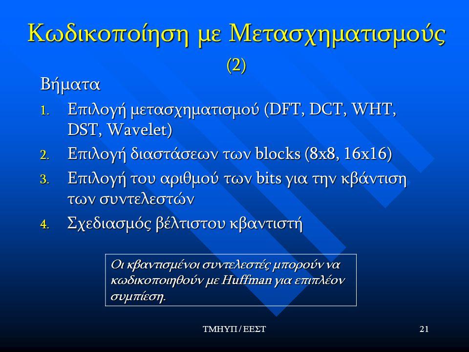 ΤΜΗΥΠ / ΕΕΣΤ21 Κωδικοποίηση με Μετασχηματισμούς (2) Βήματα 1. Επιλογή μετασχηματισμού (DFT, DCT, WHT, DST, Wavelet) 2. Επιλογή διαστάσεων των blocks (