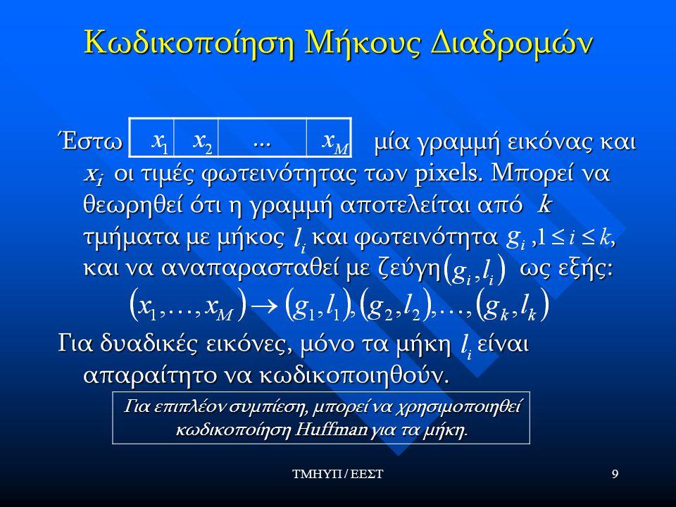 ΤΜΗΥΠ / ΕΕΣΤ10 Παράδειγμα Παράδειγμα γραμμής δυαδικής εικόνας και αναπαράστασή της με ζεύγη Παράδειγμα γραμμής δυαδικής εικόνας και αναπαράστασή της με ζεύγη