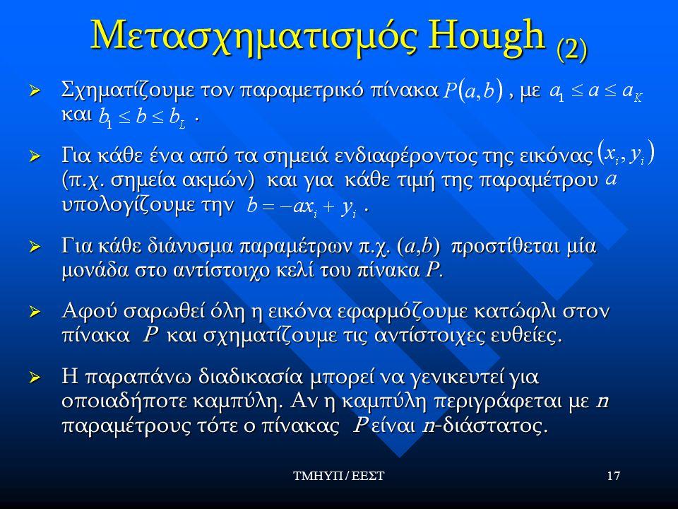 ΤΜΗΥΠ / ΕΕΣΤ17 Μετασχηματισμός Hough (2)  Σχηματίζουμε τον παραμετρικό πίνακα, με και.