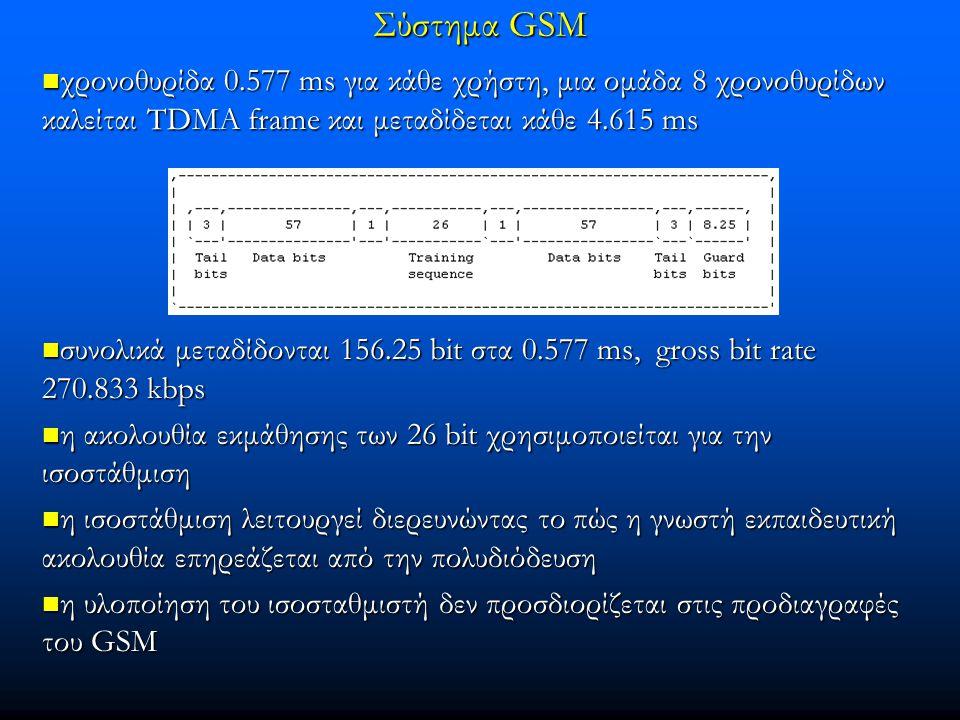 χρονοθυρίδα 0.577 ms για κάθε χρήστη, μια ομάδα 8 χρονοθυρίδων καλείται TDMA frame και μεταδίδεται κάθε 4.615 ms χρονοθυρίδα 0.577 ms για κάθε χρήστη, μια ομάδα 8 χρονοθυρίδων καλείται TDMA frame και μεταδίδεται κάθε 4.615 ms συνολικά μεταδίδονται 156.25 bit στα 0.577 ms, gross bit rate 270.833 kbps συνολικά μεταδίδονται 156.25 bit στα 0.577 ms, gross bit rate 270.833 kbps η ακολουθία εκμάθησης των 26 bit χρησιμοποιείται για την ισοστάθμιση η ακολουθία εκμάθησης των 26 bit χρησιμοποιείται για την ισοστάθμιση η ισοστάθμιση λειτουργεί διερευνώντας το πώς η γνωστή εκπαιδευτική ακολουθία επηρεάζεται από την πολυδιόδευση η ισοστάθμιση λειτουργεί διερευνώντας το πώς η γνωστή εκπαιδευτική ακολουθία επηρεάζεται από την πολυδιόδευση η υλοποίηση του ισοσταθμιστή δεν προσδιορίζεται στις προδιαγραφές του GSM η υλοποίηση του ισοσταθμιστή δεν προσδιορίζεται στις προδιαγραφές του GSM Σύστημα GSM