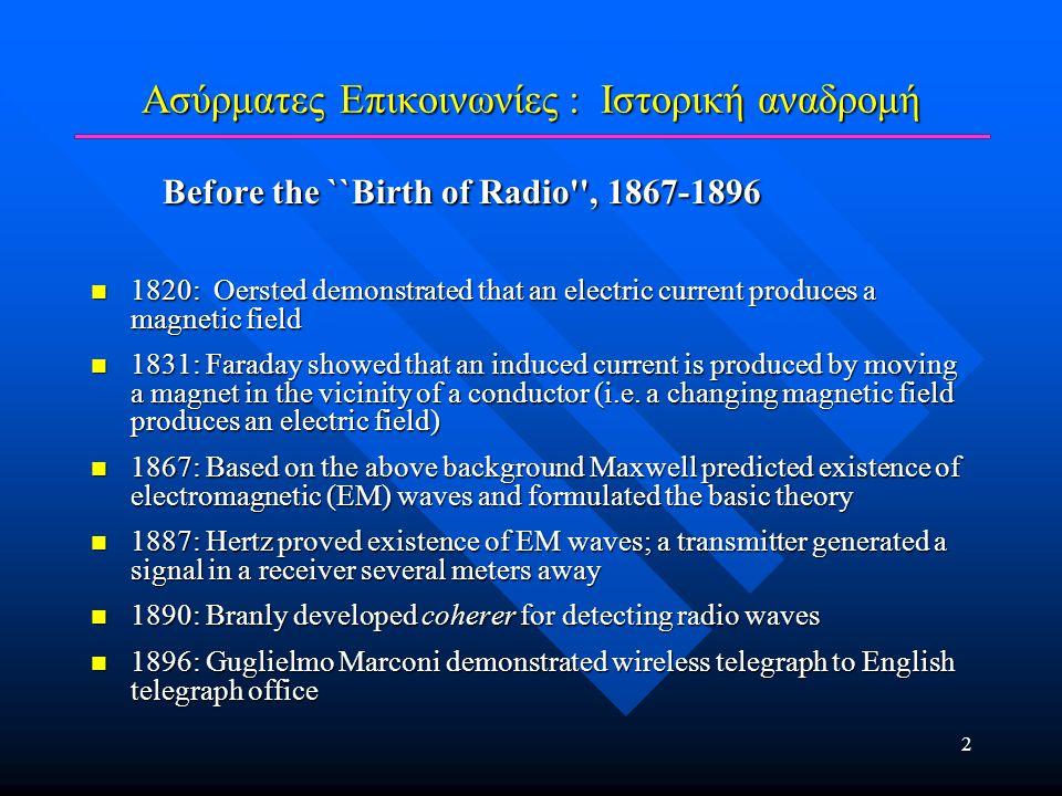 2 Ασύρματες Επικοινωνίες : Ιστορική αναδρομή Before the ``Birth of Radio'', 1867-1896 Before the ``Birth of Radio'', 1867-1896 1820: Oersted demonstra