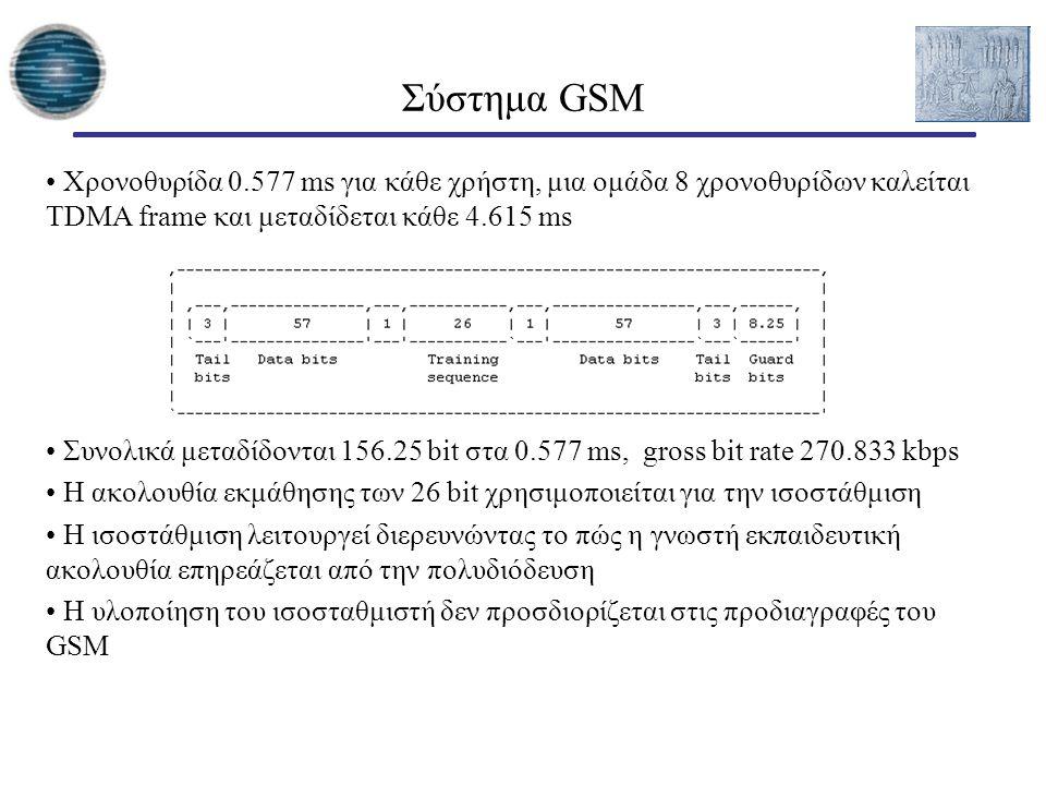 Χρονοθυρίδα 0.577 ms για κάθε χρήστη, μια ομάδα 8 χρονοθυρίδων καλείται TDMA frame και μεταδίδεται κάθε 4.615 ms Συνολικά μεταδίδονται 156.25 bit στα 0.577 ms, gross bit rate 270.833 kbps H ακολουθία εκμάθησης των 26 bit χρησιμοποιείται για την ισοστάθμιση H ισοστάθμιση λειτουργεί διερευνώντας το πώς η γνωστή εκπαιδευτική ακολουθία επηρεάζεται από την πολυδιόδευση H υλοποίηση του ισοσταθμιστή δεν προσδιορίζεται στις προδιαγραφές του GSM Σύστημα GSM