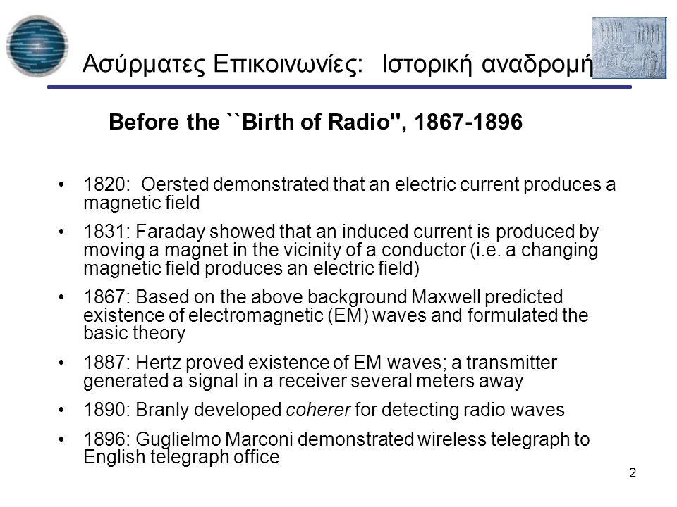 3 Ασύρματες Επικοινωνίες : Ιστορική αναδρομή The Birth of Radio 1897: Marconi awarded patent for wireless telegraph 1897: First ``Marconi station established on Needles island to communicate with English coast 1898: Marconi awarded English patent no.