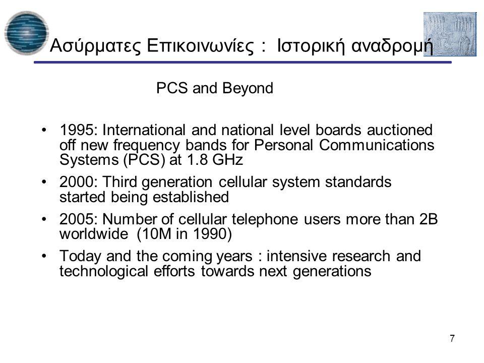 8 Ασύρματες Επικοινωνίες : Ιστορική αναδρομή cellular phonessatellites wireless LANcordless phones 1992: GSM 1994: DCS 1800 2001: IMT-2000 1987: CT1+ 1982: Inmarsat-A 1992: Inmarsat-B Inmarsat-M 1998: Iridium 1989: CT 2 1991: DECT 199x: proprietary 1997: IEEE 802.11 1999: 802.11b, Bluetooth 1988: Inmarsat-C analogue digital 1991: D-AMPS 1991: CDMA 1981: NMT 450 1986: NMT 900 1980: CT0 1984: CT1 1983: AMPS 1993: PDC 4G – fourth generation: when and how.