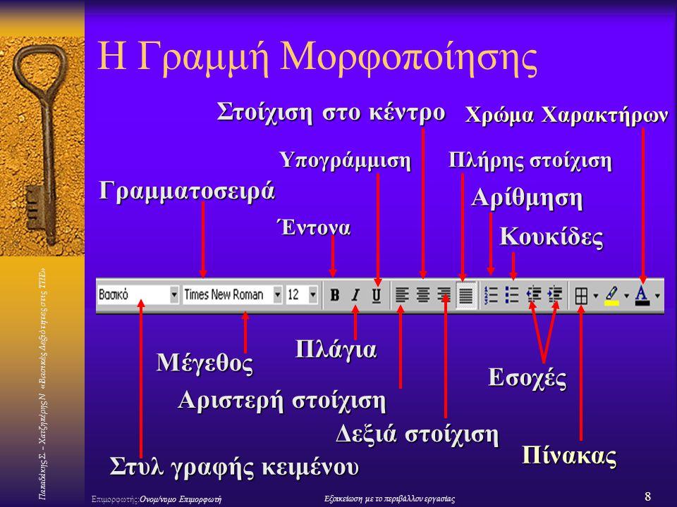 Παπαδάκης Σ. – Χατζηπέρης Ν «Βασικές Δεξιότητες στις ΤΠΕ» 8 Επιμορφωτής:Ονομ/νυμο ΕπιμορφωτήΕξοικείωση με το περιβάλλον εργασίας Η Γραμμή Μορφοποίησης