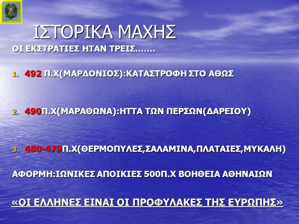 ΙΣΤΟΡΙΚΑ ΜΑΧΗΣ ΟΙ ΕΚΣΤΡΑΤΙΕΣ ΗΤΑΝ ΤΡΕΙΣ……. 1. 4 92 Π.Χ(ΜΑΡΔΟΝΙΟΣ):ΚΑΤΑΣΤΡΟΦΗ ΣΤΟ ΑΘΩΣ 2. 4 90Π.Χ(ΜΑΡΑΘΩΝΑ):ΗΤΤΑ ΤΩΝ ΠΕΡΣΩΝ(ΔΑΡΕΙΟΥ) 3. 4 80-479Π.Χ(ΘΕΡ