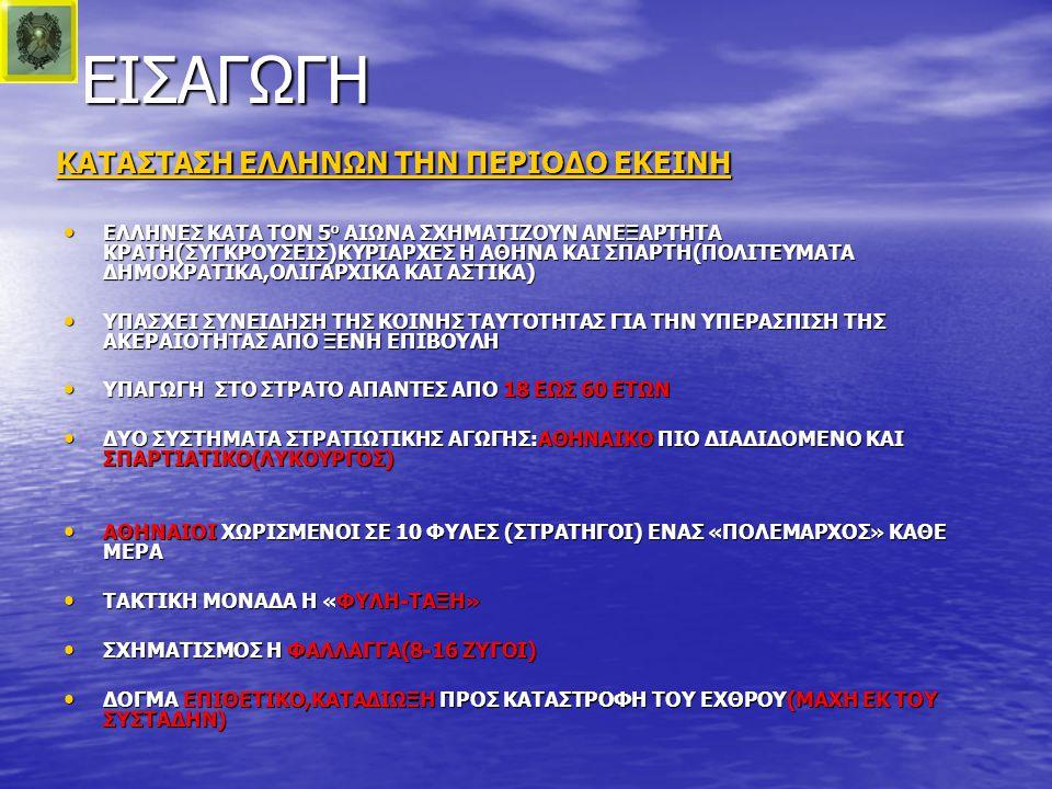 ΔΥΝΑΜΕΙΣ-ΣΧΕΔΙΑ ΣΧΕΔΙΟ ΑΘΗΝΑΙΩΝ(ΒΑΣΙΚΑ ΣΤΟΙΧΕΙΑ) ΕΞΙΣΩΣΗ ΜΕΤΩΠΟΥ(1600 μ.) ΠΡΟΣ ΑΠΟΦΥΓΗ ΚΥΚΛΩΣΕΩΣ ΚΕΝΤΡΟ ΑΣΘΕΝΕΣ(2 ΖΥΓΟΙ) ΚΑΙ ΑΚΡΑ ΙΣΧΥΡΑ(8 ΖΥΓΟΙ) ΕΠΙΘΕΤΙΚΗ ΕΝΕΡΓΕΙΑ ΣΤΑ ΑΚΡΑ ΚΑΙ ΑΜΥΝΤΙΚΗ ΣΤΟ ΚΕΝΤΡΟ(ΓΝΩΣΗ ΤΗΣ ΔΙΑΤΑΞΕΩΣ ΤΗΣ ΠΕΡΣΙΚΗΣ ΔΥΝΑΜΗΣ ΕΦΟΣΟΝ ΚΑΙ ΤΑ ΑΚΡΑ ΕΊΝΑΙ ΑΠΟΔΥΝΑΜΟΜΕΝΑ ΛΟΓΩ ΤΗΣ ΕΛΛΕΙΨΕΩΣ ΤΟΥ ΙΠΠΙΚΟΥ)