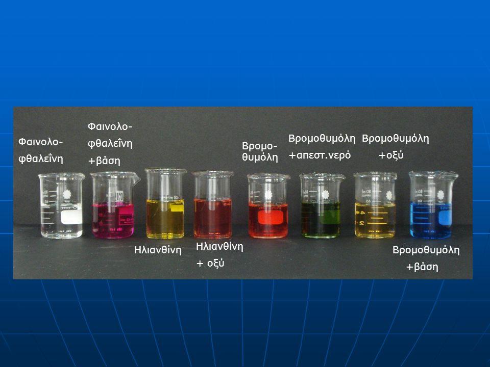 Φαινολο- φθαλεΐνη Φαινολο- φθαλεΐνη +βάση Ηλιανθίνη + οξύ Βρομο- θυμόλη Βρομοθυμόλη +απεστ.νερό Βρομοθυμόλη +οξύ Βρομοθυμόλη +βάση