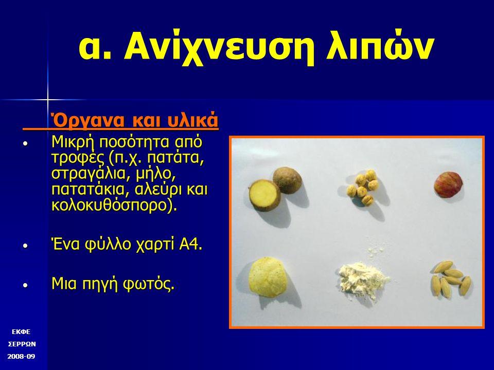 ΕΚΦΕ ΣΕΡΡΩΝ 2008-09 δ. Ανίχνευση αμύλου Εάν εμφανιστεί ιώδες χρώμα, τότε στην τροφή υπήρχε άμυλο