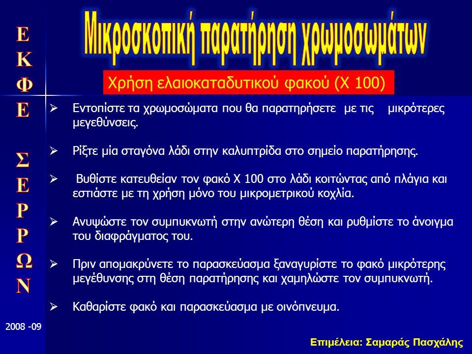 Επιμέλεια: Σαμαράς Πασχάλης 2008 -09  Εντοπίστε τα χρωμοσώματα που θα παρατηρήσετε με τις μικρότερες μεγεθύνσεις.  Ρίξτε μία σταγόνα λάδι στην καλυπ