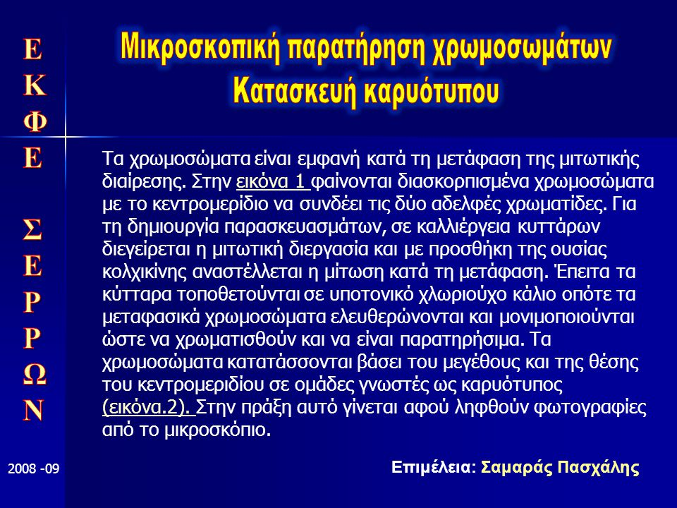 Επιμέλεια: Σαμαράς Πασχάλης 2008 -09 Τα χρωμοσώματα είναι εμφανή κατά τη μετάφαση της μιτωτικής διαίρεσης. Στην εικόνα 1 φαίνονται διασκορπισμένα χρωμ