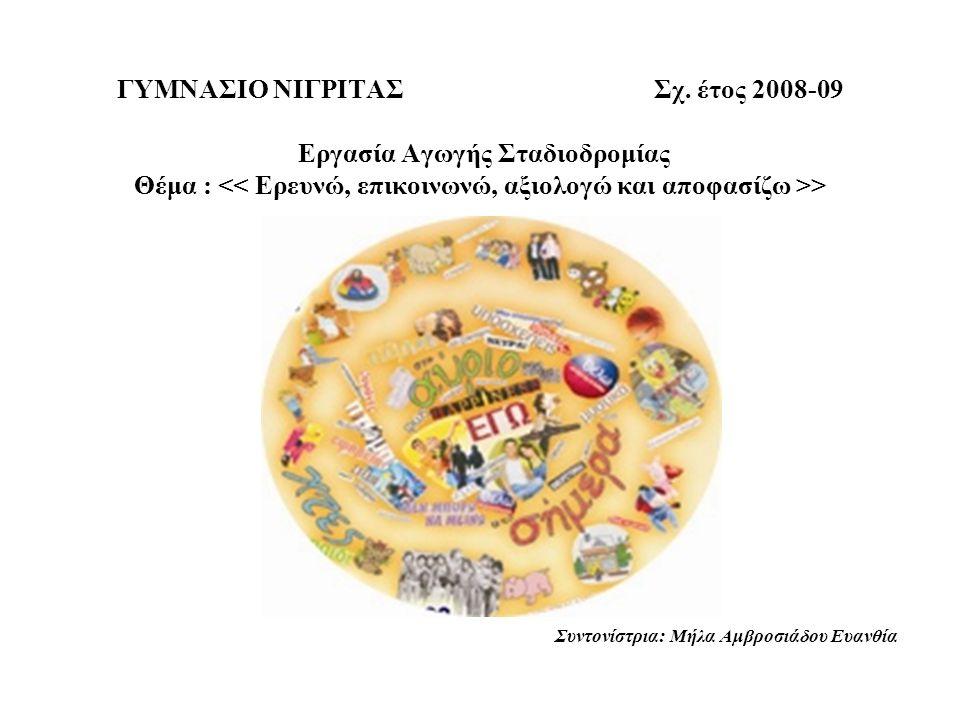 ΓΥΜΝΑΣΙΟ ΝΙΓΡΙΤΑΣ Σχ. έτος 2008-09 Εργασία Αγωγής Σταδιοδρομίας Θέμα : > Συντονίστρια: Μήλα Αμβροσιάδου Ευανθία