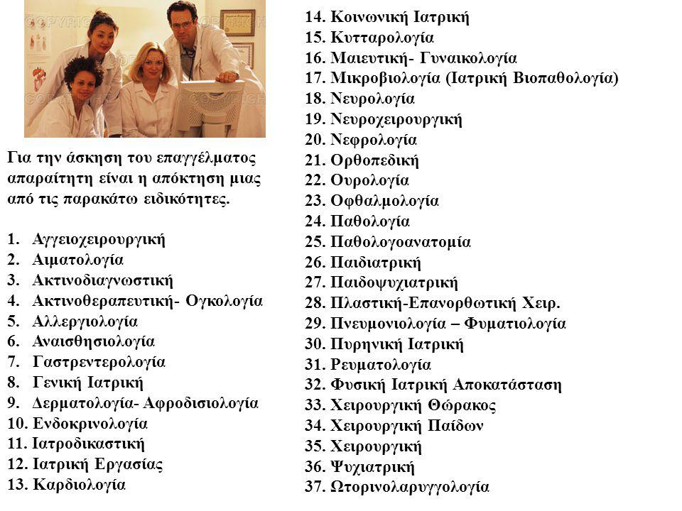 Για την άσκηση του επαγγέλματος απαραίτητη είναι η απόκτηση μιας από τις παρακάτω ειδικότητες. 1. Αγγειοχειρουργική 2. Αιματολογία 3. Ακτινοδιαγνωστικ