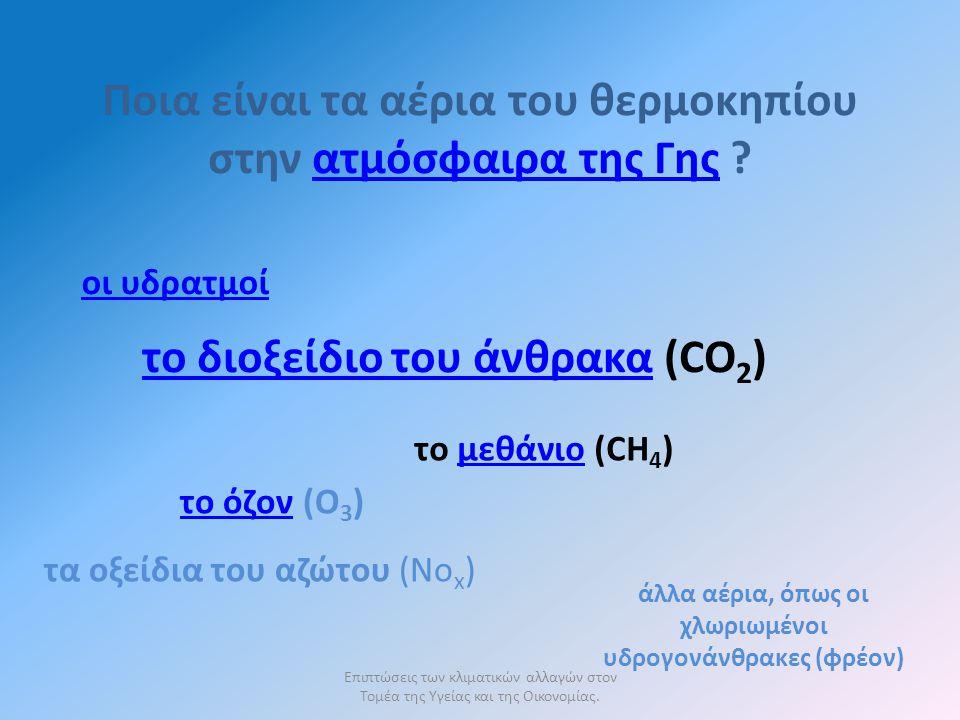Ποια είναι τα αέρια του θερμοκηπίου στην ατμόσφαιρα της Γης ατμόσφαιρα της Γης οι υδρατμοί το διοξείδιο του άνθρακατο διοξείδιο του άνθρακα (CO 2 ) το μεθάνιο (CH 4 )μεθάνιο το όζοντο όζον (Ο 3 ) τα οξείδια του αζώτου (Νο x ) άλλα αέρια, όπως οι χλωριωμένοι υδρογονάνθρακες (φρέον)