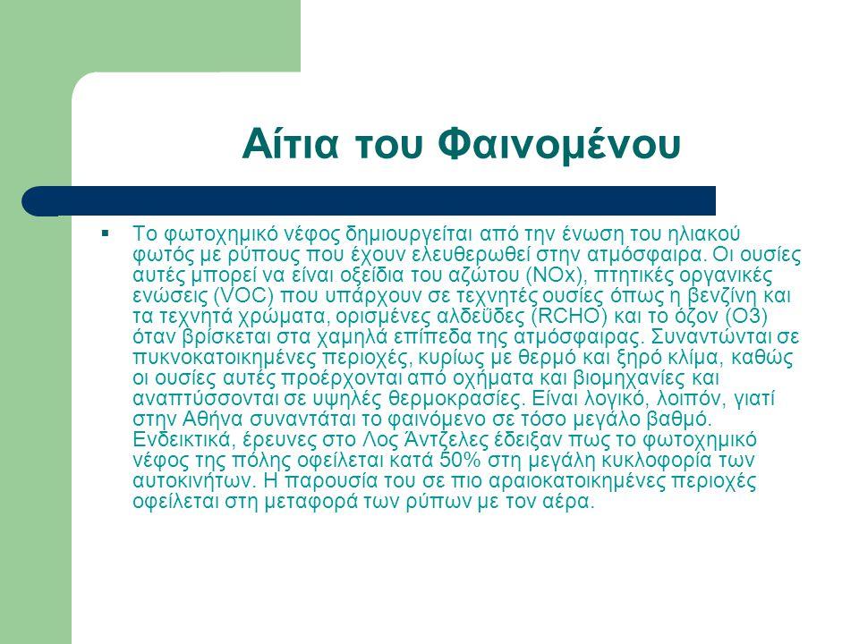 Φωτοχημικό Νέφος  Το φωτοχημικό νέφος είναι μια μορφή ρύπανσης της ατμόσφαιρας που εμφανίζεται σε μεγάλες πόλεις, όπως η Αθήνα.