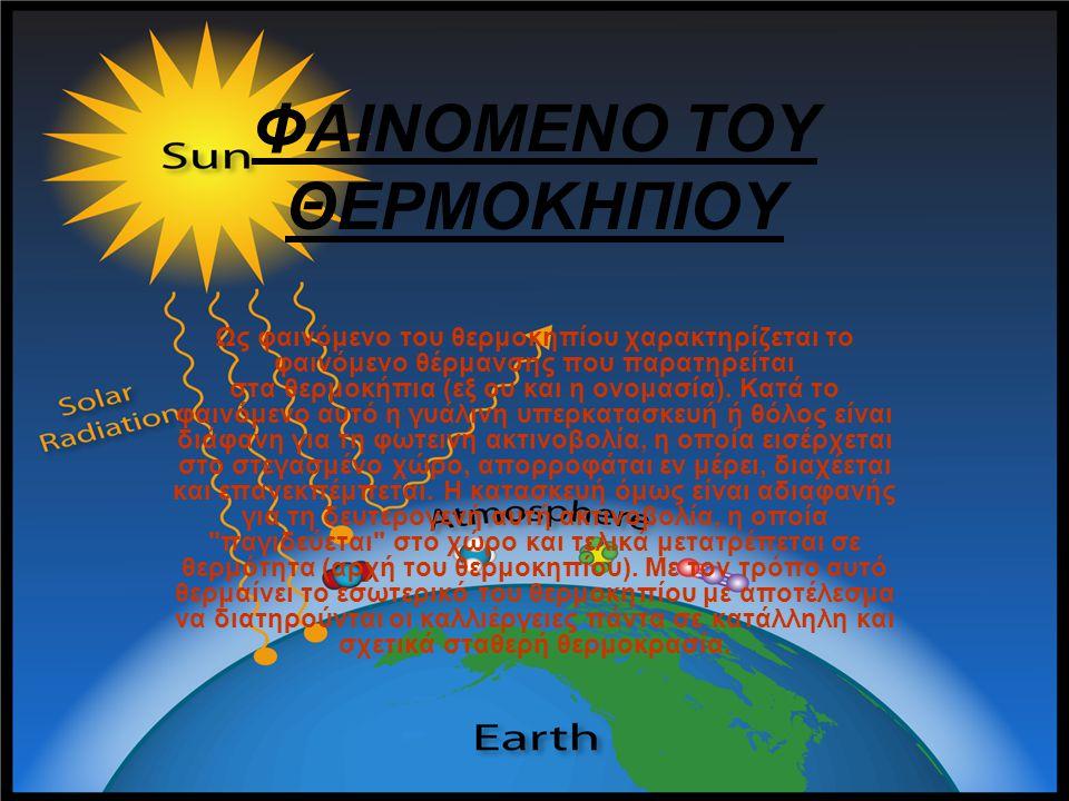 ΦΑΙΝΟΜΕΝΟ ΤΟΥ ΘΕΡΜΟΚΗΠΙΟΥ Ως φαινόμενο του θερμοκηπίου χαρακτηρίζεται το φαινόμενο θέρμανσης που παρατηρείται στα θερμοκήπια (εξ ου και η ονομασία). Κ