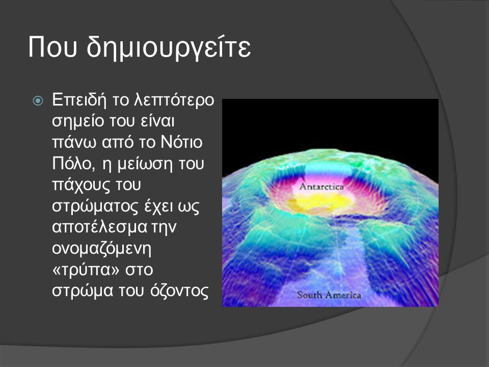 Τι είναι η τρύπα του όζοντος  Τρύπα του όζοντος ονομάζεται το φαινόμενο κατά το οποίο το στρώμα του όζοντος που βρίσκεται στα ανώτερα στρώματα της ατμόσφαιρας της Γης μειώνεται σε πάχος πάνω από την Ανταρκτική.